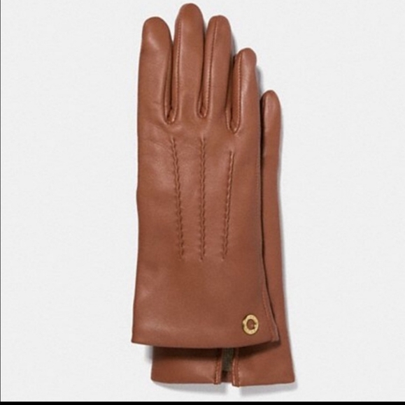 Coach Basic Leather Gloves in Saddle Brown